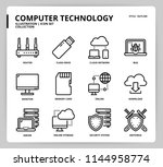 computer network icon set | Shutterstock .eps vector #1144958774