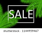 sale banner with palm leaves.... | Shutterstock .eps vector #1144959467