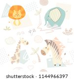 Stock vector lion giraffe zebra elephant baby cute seamless pattern sweet zoo animal print mother and child 1144966397