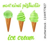 green tea ice cream with mint... | Shutterstock .eps vector #1144977827