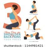 a set of yoga postures female... | Shutterstock .eps vector #1144981421