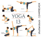 set of 7 yoga poses in flat... | Shutterstock .eps vector #1144981424
