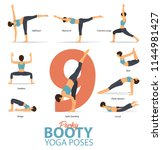 a set of yoga postures female... | Shutterstock .eps vector #1144981427