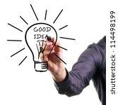 hand drawing light bulb   good... | Shutterstock . vector #114498199