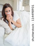 woman feeling sick and lying on ...   Shutterstock . vector #114498931