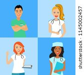 a set of avatars with doctors.... | Shutterstock .eps vector #1145002457