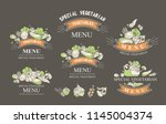 set of labels with vegetarian... | Shutterstock .eps vector #1145004374