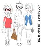fashion girl illustration | Shutterstock .eps vector #114501007