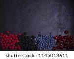 various fresh summer berries....   Shutterstock . vector #1145013611