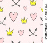 cute seamless pattern with...   Shutterstock .eps vector #1145016161