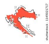 vector cartoon croatia map icon ... | Shutterstock .eps vector #1145021717