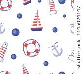 seamless pattern with boats ... | Shutterstock .eps vector #1145024147