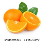 Sweet Orange Fruit With Leaves...