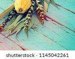 jewish festival of sukkot.... | Shutterstock . vector #1145042261