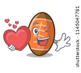 with heart rugby ball mascot... | Shutterstock .eps vector #1145047781