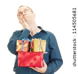 Business person with some colorful gifts - stock photo