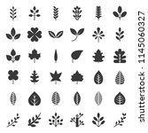 leaves and branch icon set ... | Shutterstock .eps vector #1145060327