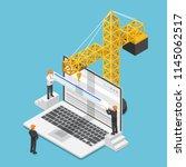 flat 3d isometric businessman... | Shutterstock .eps vector #1145062517