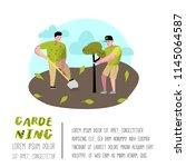 gardening cartoons poster.... | Shutterstock .eps vector #1145064587