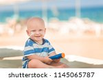 Cute Baby Boy With Sunscreen On ...