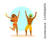 young couple  man and woman...   Shutterstock .eps vector #1145068454