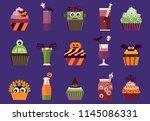 halloween cupcakes and... | Shutterstock .eps vector #1145086331