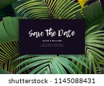floral wedding invitation with... | Shutterstock .eps vector #1145088431
