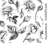 roses seamless pattern. a... | Shutterstock .eps vector #1145091164