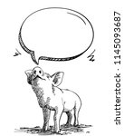 sketch of pig sniffs speech... | Shutterstock .eps vector #1145093687