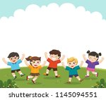 children's activities. happy...   Shutterstock .eps vector #1145094551