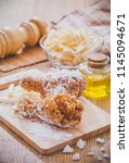 cooking in kitchen flour and... | Shutterstock . vector #1145094671