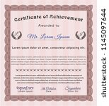 red certificate of achievement. ... | Shutterstock .eps vector #1145097644