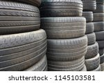 old used car tires stacked... | Shutterstock . vector #1145103581