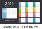 year 2019 colorful calendar  in ... | Shutterstock .eps vector #1145107691