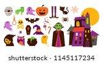 happy halloween stickers  icons ... | Shutterstock .eps vector #1145117234