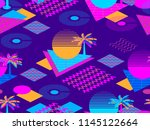 memphis seamless pattern with... | Shutterstock .eps vector #1145122664