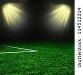 soccer ball on the green field... | Shutterstock . vector #114512314