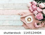 morning coffee cup concept.... | Shutterstock . vector #1145124404
