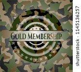 gold membership on camo texture | Shutterstock .eps vector #1145136257