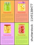 preserved food posters with... | Shutterstock .eps vector #1145138477