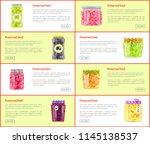 preserved food banners set of... | Shutterstock .eps vector #1145138537