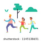fitness jogging father and kids.... | Shutterstock .eps vector #1145138651