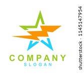 thunder star logo template ...   Shutterstock .eps vector #1145147954