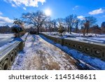 bow bridge in the winter at... | Shutterstock . vector #1145148611