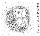 raster illustration with cute... | Shutterstock . vector #1145149751