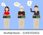 people answer quiz questions... | Shutterstock .eps vector #1145152421