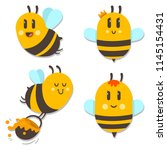 cute bee with honey vector... | Shutterstock .eps vector #1145154431