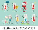 cute thermometer in santa hat ... | Shutterstock .eps vector #1145154434