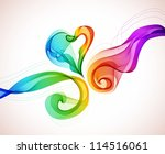 Abstract colorful background with wave and heart, illustration for Valentine design - stock photo