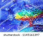 rainbow tree color colorful... | Shutterstock . vector #1145161397